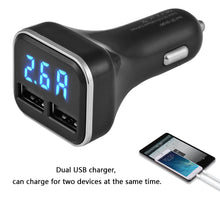 Load image into Gallery viewer, Smart 4.8A Dual USB Car Charge Fast Charge Adapter with Voltmeter for iPhone iPAD Samsung