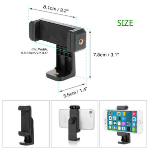 Powstro Cell Phone Stand Vertical Bracket Smartphone Clip Holder 360 Adapter Tripod Mount for iPhone Samsung Selfie