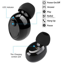 Load image into Gallery viewer, FORNORM Magnetic Mono Small Single Earbuds Hidden Invisible Earpiece Micro Mini Wireless Headset Bluetooth Earphone for iPhone