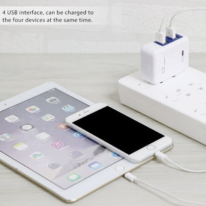 Powstro 4 Ports Multiple Wall USB Smart Charger EU Plug Adapter Mobile Phone Device For SmartPhone For Iphone