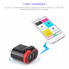 Load image into Gallery viewer, Powstro 5V 2.1A Smart Travel Dual USB Charger With 2 USB Adapter Wall Portable For Apple For iphone SmartPhone