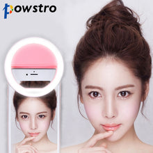 Load image into Gallery viewer, POWSTRO Selfie Portable Flash Led Camera Phone Photography Ring Light Enhancing Photography for iPhone Samsung Pink White