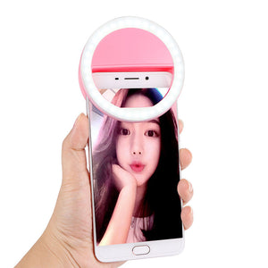 POWSTRO Selfie Portable Flash Led Camera Phone Photography Ring Light Enhancing Photography for iPhone Samsung Pink White