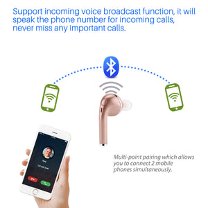 1pc Bluetooth 4.1 Headphone Wireless Headset HD Earbud Hands-free Call Earphone for iPhones Samsung Smartphones Tablets