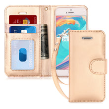 Load image into Gallery viewer, iPhone SE Case, iPhone 5S Case, FYY [Kickstand Feature] Flip Folio Leather Wallet Case with ID&Credit Card Pockets for Apple iPhone/5S/5/5C