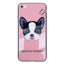Load image into Gallery viewer, Boston Terrier Dog Protection Shell Soft TPU Frame Back Cover Tempered Glass Cellphone Case for IPhone 6 - IPhone X