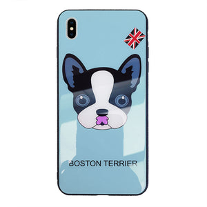 Boston Terrier Dog Protection Shell Soft TPU Frame Back Cover Tempered Glass Cellphone Case for IPhone 6 - IPhone X