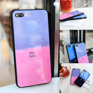 Soft TPU Frame Phone Shell Tempered Glass Assorted Colors Phone Shell Anti-drop Case for IPhone 6/6S IPhone 6/6Splus IPhone 7/8 IPhone 7/8plus IPhone X