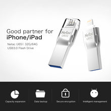 Load image into Gallery viewer, Netac U651 32G 64G USB3.0 Dual Interface Mini Flash Drive Memory Stick For iPhone/iPad/PC