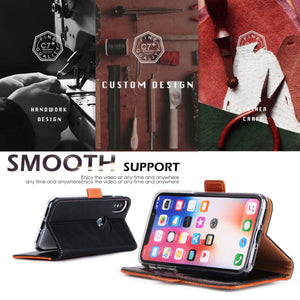 iPhone X Case, FYY Luxurious Genuine Leather Wallet Case with Kickstand Function for iPhone X