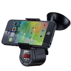 Car FM Transmitter with 360° Phone Holder Hands Free Calls for iPhone