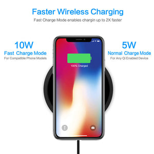 Ultra Slim Qi Fast Wireless Charger Rapid Charging Stand  for iPhone X/iPhone 8