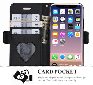 FYY iPhone X Case, iPhone X Wallet Case, [RFID Blocking wallet][Makeup Case] Premium PU Leather Wallet Case with Cosmetic Mirror, Card Slots and Wrist Strap for iPhone X Edition (2017)