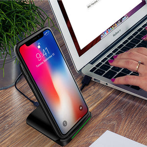 Fast Wireless Charger Cell Charging Pad Stand for Samsung Galaxy Note 8 S8 S7 Edge Note 5 Standard Charge for iPhone X iPhone 8 iPhone 8 Plus-No AC Adapter