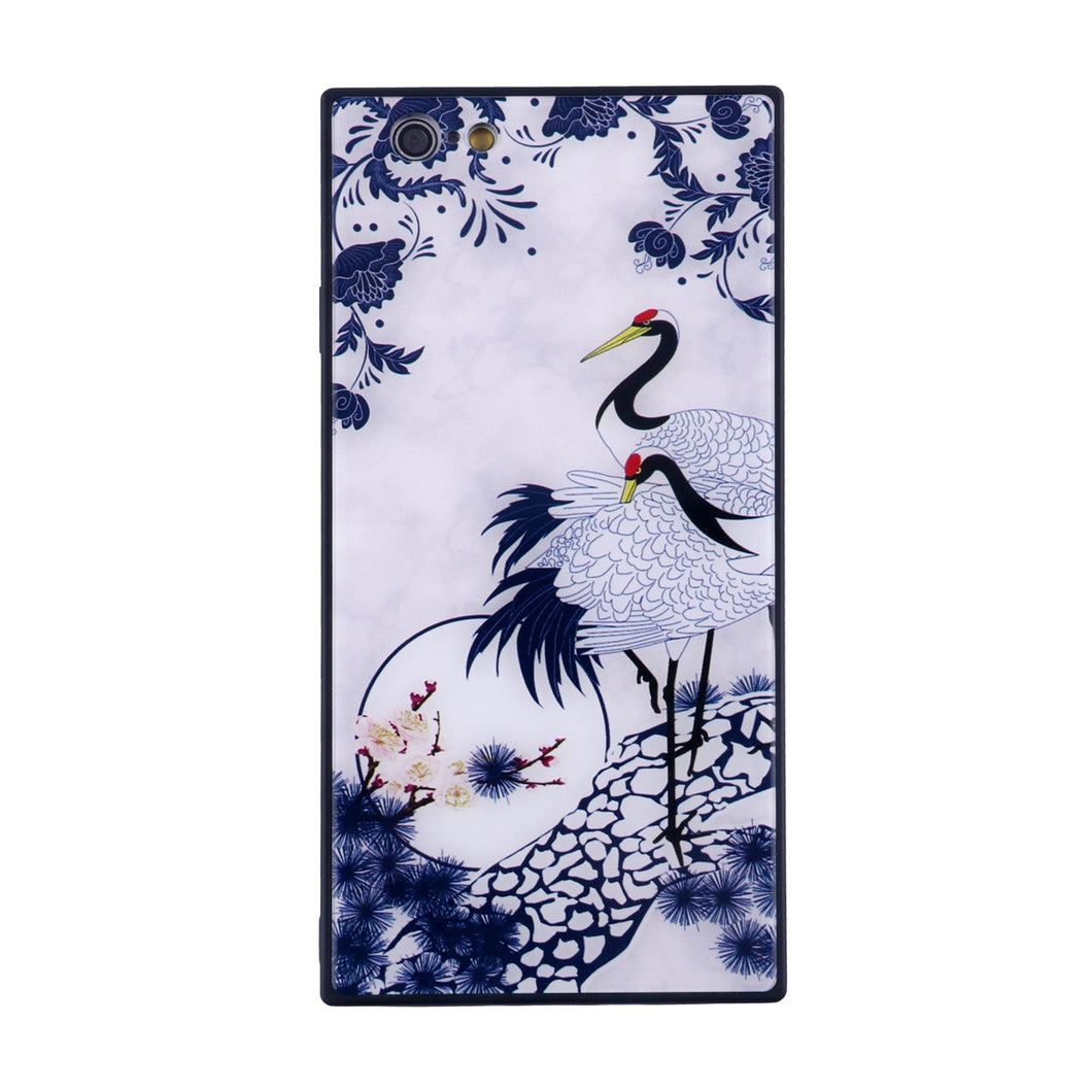 China Style Square Glass Phone Case Blue and White Porcelain Phone Shell for iPhone (Red-crowned Crane)
