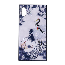 Load image into Gallery viewer, China Style Square Glass Phone Case Blue and White Porcelain Phone Shell for iPhone (Red-crowned Crane)