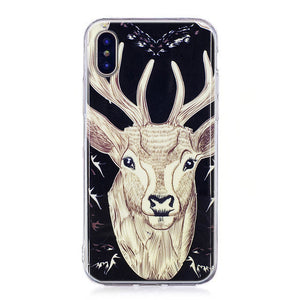 Print Painting Cellphone Case TPU Border IMD Fluorescence Polychrome Back Cover for  IPhone X