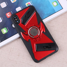 Load image into Gallery viewer, Hybrid Rugged Phone Case Heavy Duty Embossment Shockproof Ring Holder Magnetic Plate Case Hard Back Cover for iPhone X / iPhone 7/8 iPhone 7 Plus/8 Plus/ iPhone 6S/6s Plus