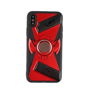 Hybrid Rugged Phone Case Heavy Duty Embossment Shockproof Ring Holder Magnetic Plate Case Hard Back Cover for iPhone X / iPhone 7/8 iPhone 7 Plus/8 Plus/ iPhone 6S/6s Plus
