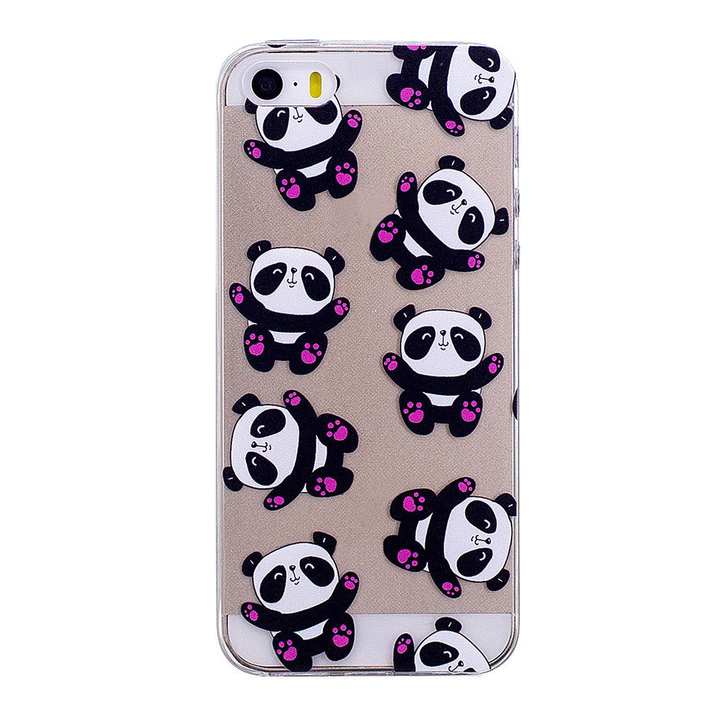 Phone Cover Transparent TPU Case Hugging Panda Pattern Soft Protector Shell for iPhone