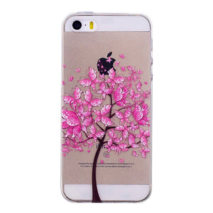 Phone Cover Transparent TPU Case Purple Butterfly Tree Pattern Soft Protector Shell for iPhone