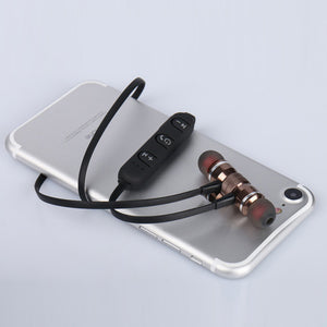 Metal Magnet Wireless Bluetooth Earphone Headset Headphone For iPhone Samsung