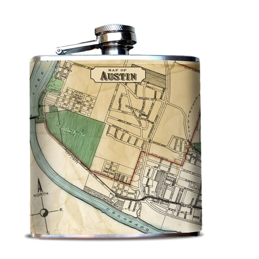 Austin Map Hip Flask
