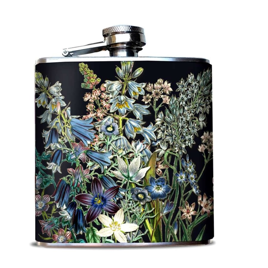 Blue Flowers Hip Flask