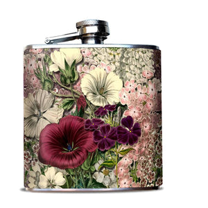 Pink Flowers Hip Flask