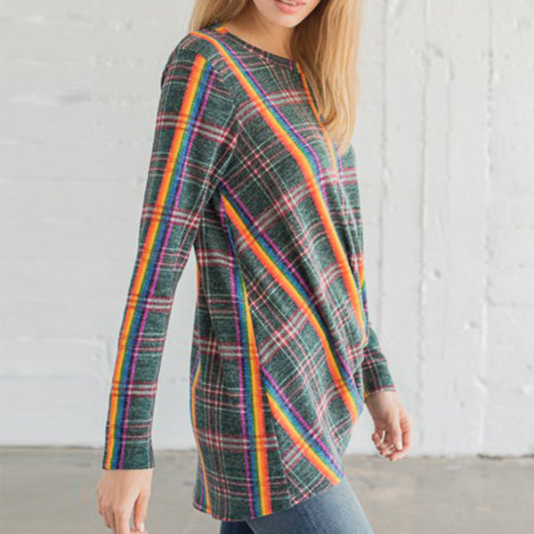 Plaid Knit Top