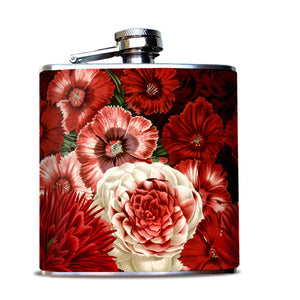 Red Flowers Hip Flask