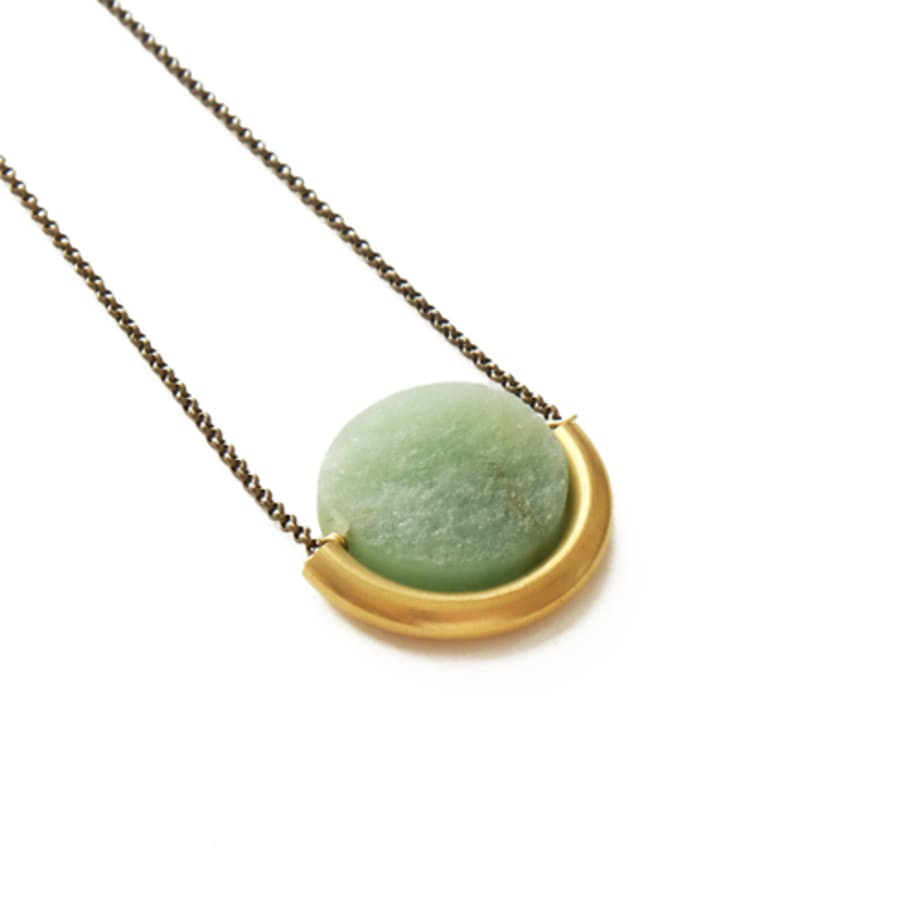 Sun and Moon Necklace - Green Aventurine