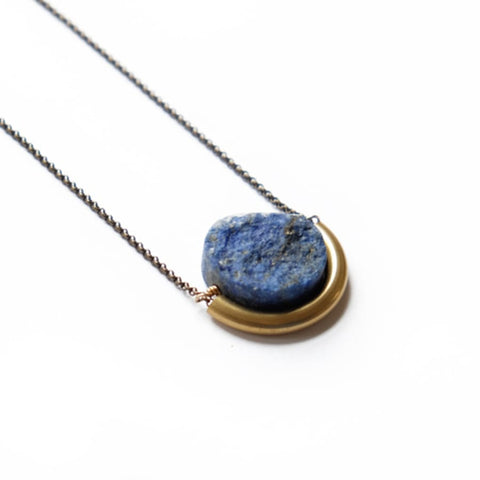 Sun and Moon Necklace - Lapis