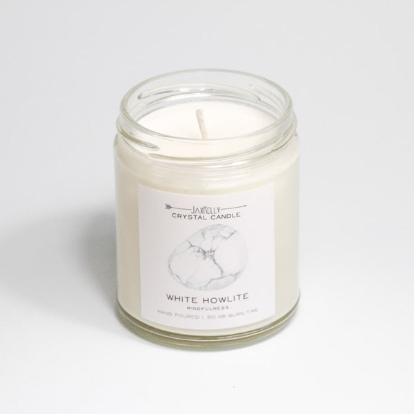 White Howlite Crystal Candle - Mindfulness