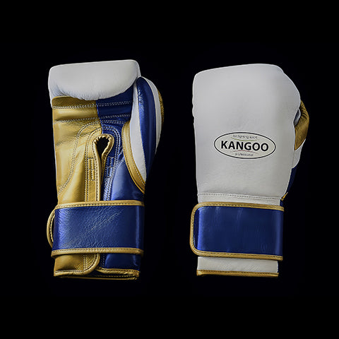 Premium white, gold and blue glove with Velcro