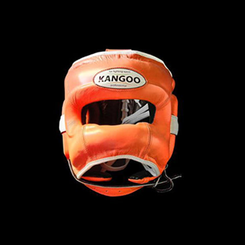 Orange Elite headgear with cheek protection.