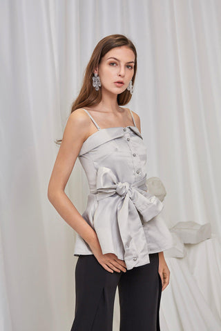 FIRST GLANCE BOW DETAILED SATIN TOP - My Dearest