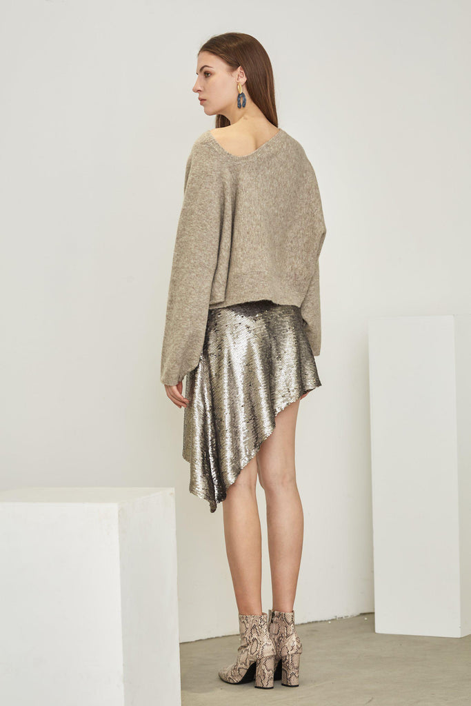 SHINING ASYMMETRIC SEQUINED SKIRT - My Dearest