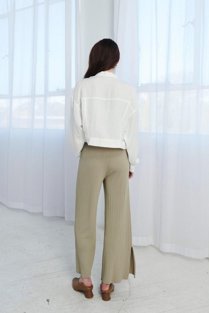 VACAY STYLE STRETCH KNIT PANTS - GREEN-PANTS-My Dearest