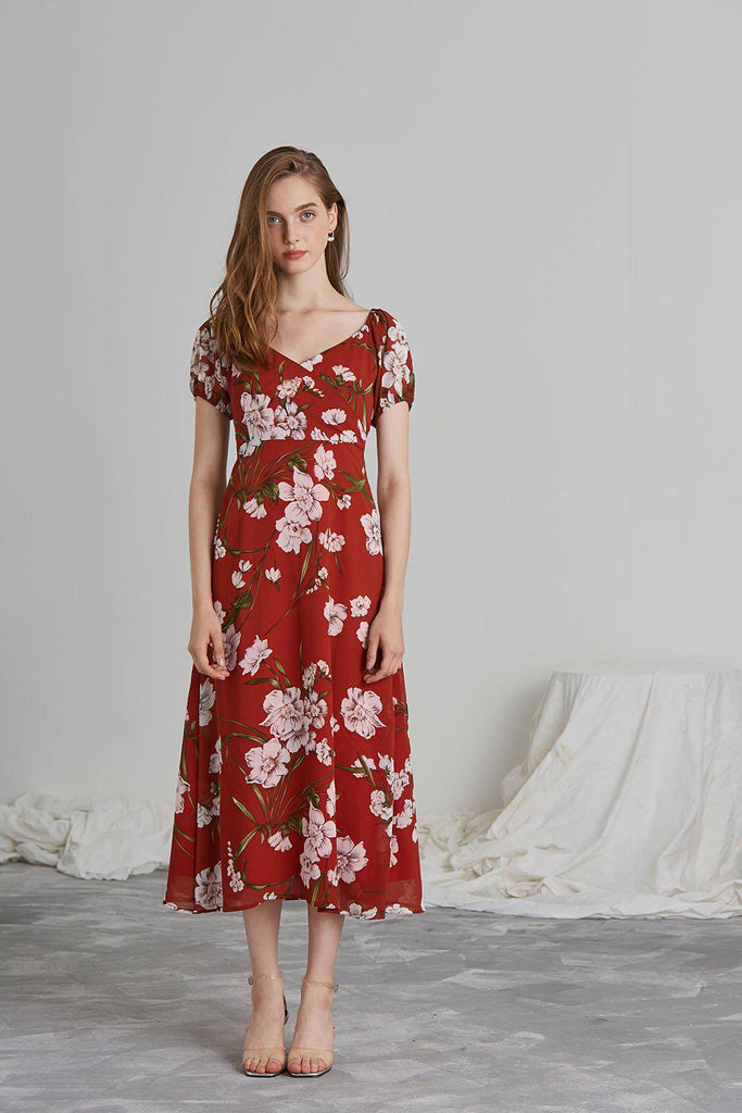 DESERT FLOWER CHIFFON MIDI DRESS - My Dearest