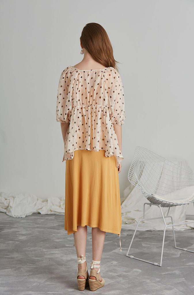 AURA POLKA-DOT CHIFFON TOP - My Dearest