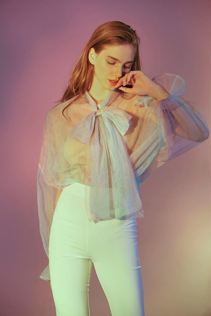 RAINBOW PUSSY-BOW TULLE BLOUSE - My Dearest