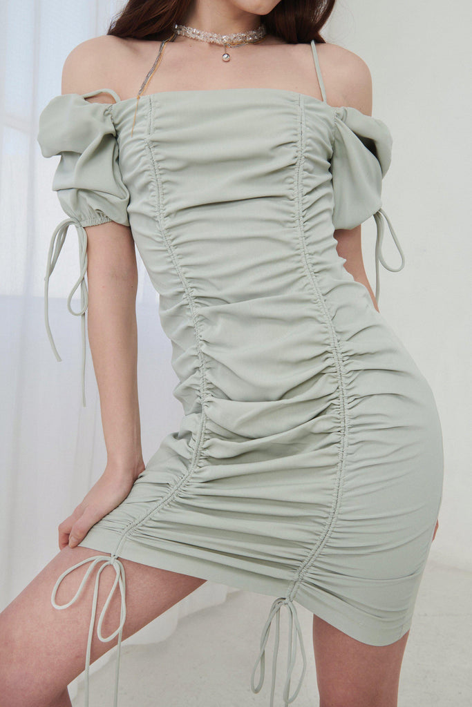 PRIVATE PARTY RUCHED MINI DRESS - GREEN