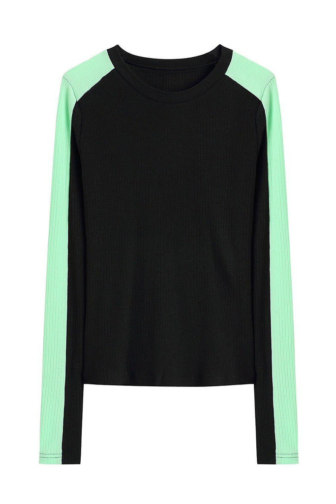 BRIGHT LINE STRETCH KNIT TOP - BLACK