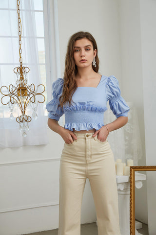 BUBBLE SLEEVE SHIRT - BLUE - My Dearest