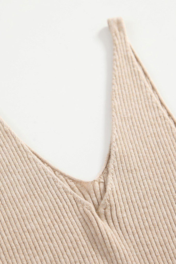 GIGI RIBBED KNIT TANK TOP - BEIGE - My Dearest
