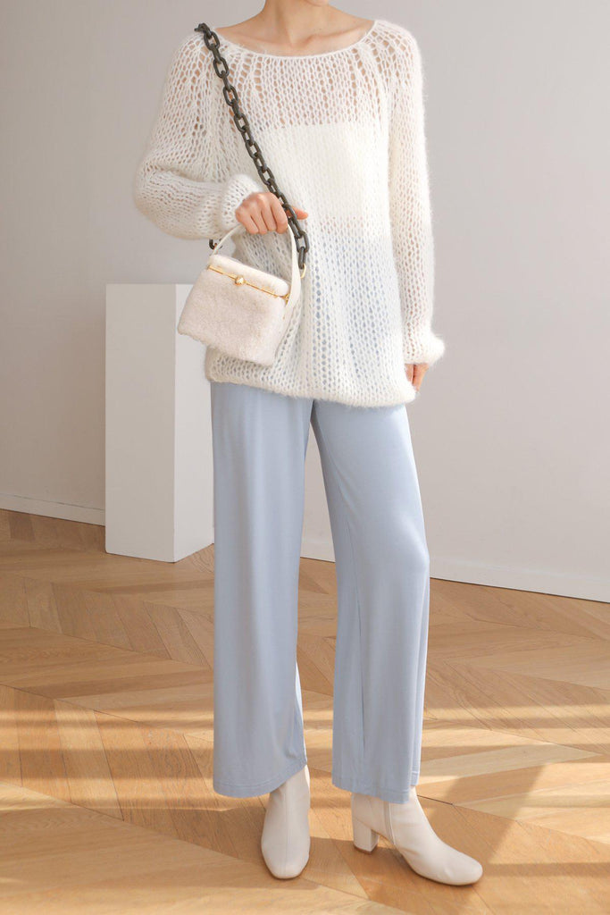 STAY OPEN KNIT MOHAIR SWEATER - WHITE