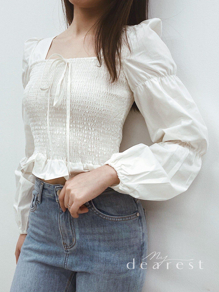 LEAH SHIRRED TOP-TOPS-My Dearest