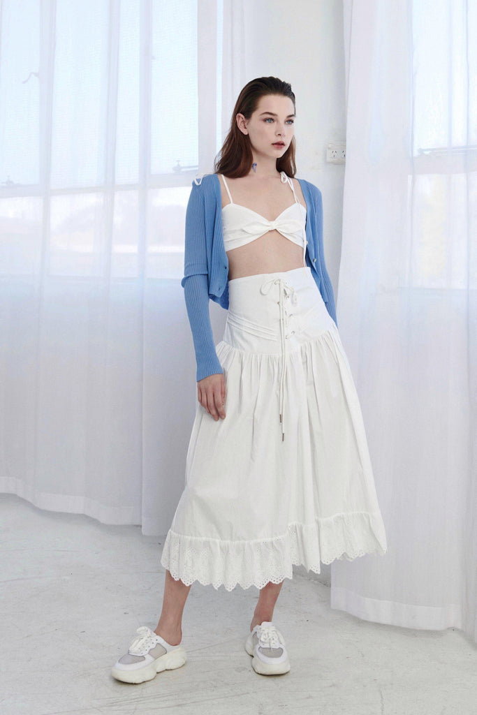 WHITE VENUS CROCHET TRIMMED LACE UP SKIRT