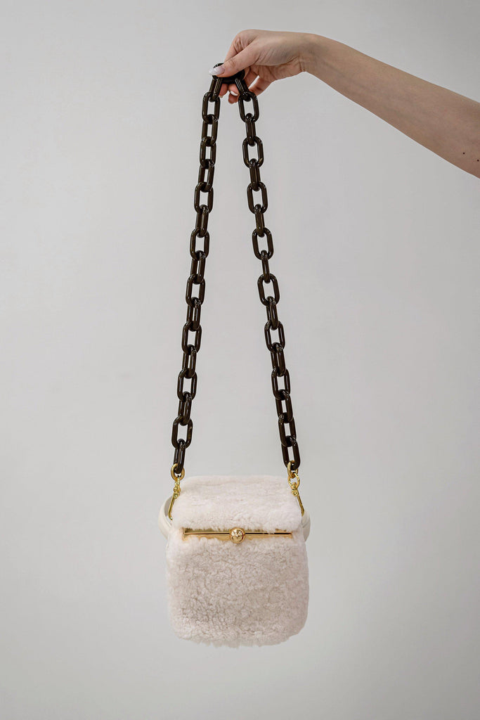 TEDDY IN A BOX SHEARLING BAG - WHITE